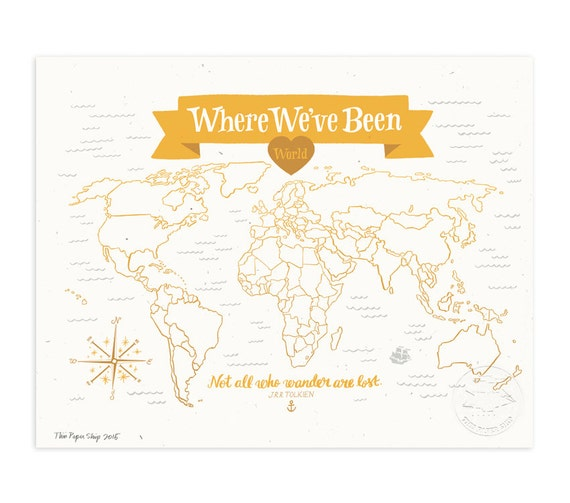 Where We've Been: World Map, Mustard Yellow Illustrated Art Print
