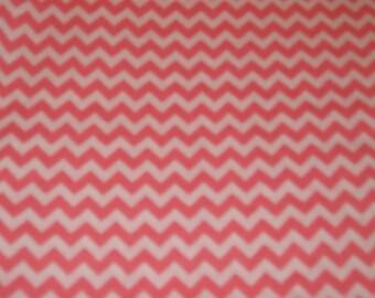 "Chevron Small Coral on White Background Cotton Fabric 1/2 Yard Cotton 45"" Wide"