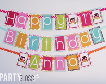 Girly Owl Birthday Party Banner Fully Assembled Decorations