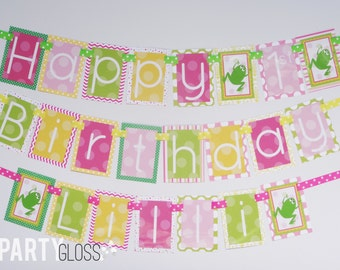 Girly Frog Birthday Party Banner Decorations Fully Assembled | Frog Party | Pink Yellow Green | Froggy Party | Girl Frog Birthday Party |
