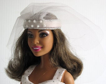 Barbie Clothes - Handmade Bride Dress in Art Deco Style with Headpiece, Veil and Bouquet