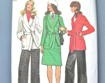 Uncut 1970s Simplicity Misses'  Vintage Sewing Pattern Simplicity 5197  Bust 38 Waist 30 inches  Misses' Front Wrap Jacket, Skirt and Pants