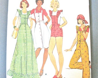 Uncut 70s Butterick 4239 Misses' Vintage Sewing Pattern MISSES' JUMPER & OVERALLS jumper straight-legged,  Bias Ruffles Bust 32.5