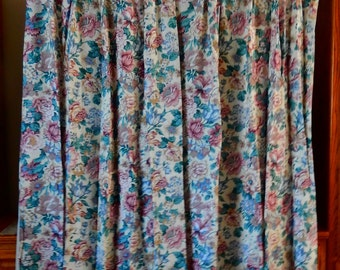 VINTAGE Silk Floral Pleated Lined Curtain Drapes 2 Long Panels
