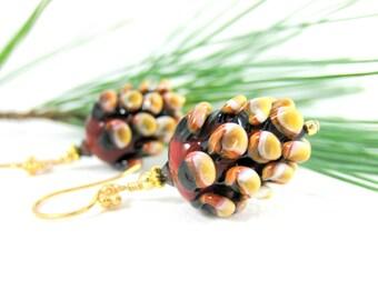 Pine Cone Earrings, Rustic Earrings, Woodland Jewelry, Winter Earrings, Brown Lampwork Earrings Nature Inspired Pinecone Earrings Pine Cones