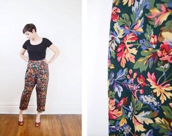 1990s Floral Cotton Trousers - L/XL