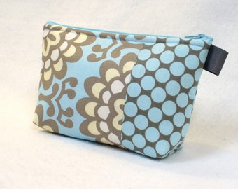 Amy Butler Floral Fabric Large Cosmetic Bag Zipper Pouch Padded Makeup Bag Cotton Zip Pouch Wall Flower Sky Blue Gray Yellow Lotus