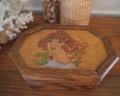 Vintage Handmade Art Deco Art Nouveau Jewelry Box ~ Romantic Maiden