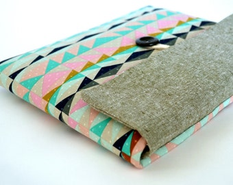 """Laptop Clutch Cover, Laptop Carrying Sleeve Case for 12 inch MacBook, Custom 11"""" to 15.6"""" Laptop Size - Aztec Triangles"""