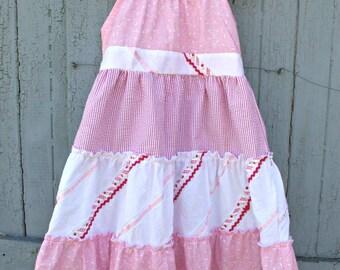 Girls Pink And White Dress