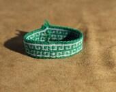 Greek Key Tablet Weaving Bracelet - Blue and Green