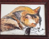 Little Lucky Calico the Cat Framed Original Ink & Watercolor Painting by Nancy Cuevas