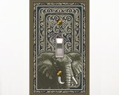 0259a - Elephant on Dark Design Switchplate - Mrs Butler   (Choose size/price from dropdown)