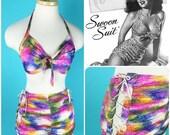 Vintage 1940s Splatter Jersey Knit Lace up Swimsuit Bikini  Cole of California S/M