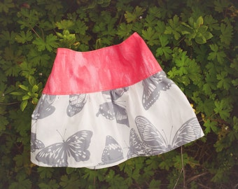 Girl's Skirt - Butterfly and Coral Watercolor Print -  Skirt for Baby, Toddler and Youth Child - Quality Handmade