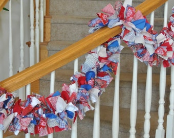 Traditional Red White Blue Americana Garland,Fabric garland,Party Decoration,Party Garland,4th of July Decoration,Americana Fabric Garland,