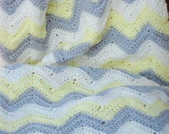 Grey. Gray, Yellow and White Chevron Blanket Zig Zag Throw Ripple Afghan Decor
