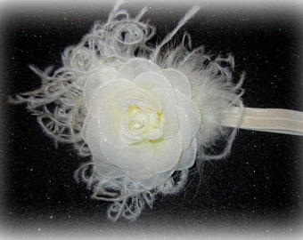 Ivory Glamor Sparkle Rose Ostrich Feather Glitter Hair Bow Headband Hairbow Photo Prop Baptism Wedding Special Occasion Gift Newborn Baby