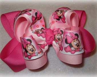 Minnie Hair Bow, Pink Minnie Hairbow, Mouse Bow, Minnie Band, Girls Hair Bows, Boutique Bow, Double stacked bow, 5 inch bows, 4 inch hairbow