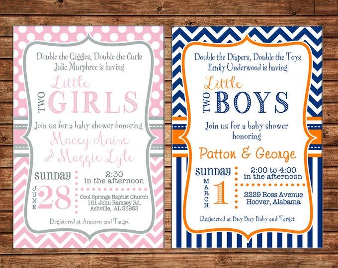 Twin Two Boy Girl Polka Dot Chevron Baby Shower Tea Birthday Party Invitation - DIGITAL FILE