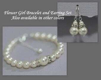 Ivory Pearl  Flower Girl Bracelet and Earring Set, Swarovski Ivory Cream Pearl Bracelet and Earring Set, Flower Girl Jewelry