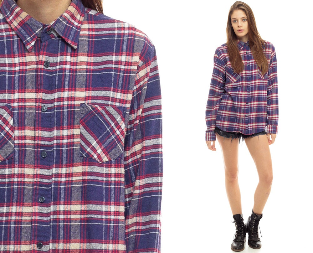 Flannel Shirt Oversized Plaid 90s Navy Blue Button Up Grunge