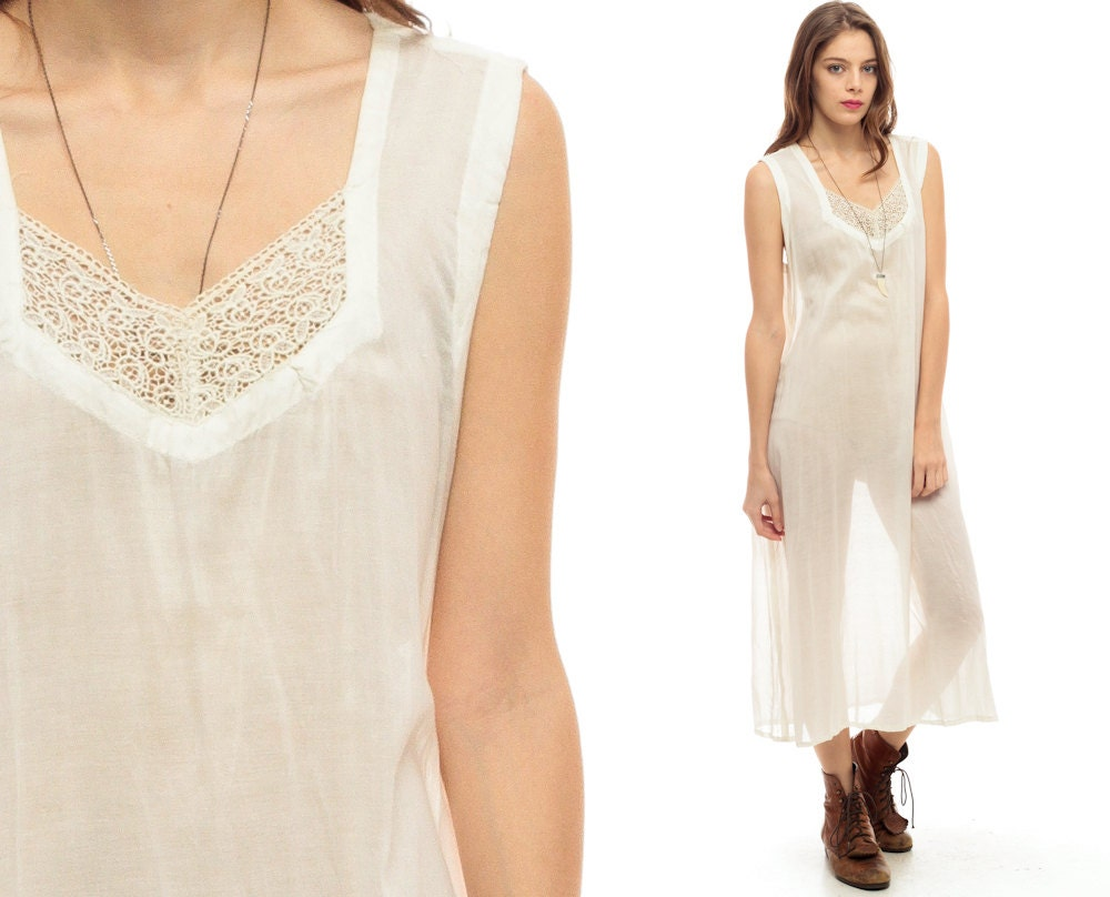Sheer White Dress Gauze Grunge Midi Crochet Lace 90s Boho