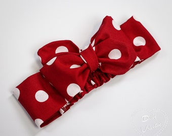 Large Red and White Polka Dots Minnie Mouse  - Dolly Rosie Scarf  - Retro Vintage Infant, Baby, Toddler, Girl, Teen, Adult