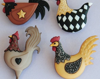 HEN HOUSE - Farm Chicken Chick Chook Rooster Eggs Dress It Up Craft Buttons
