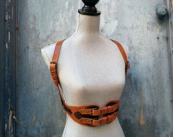 Womens Amber with Embossed Brown Trim Steampunk Leather Suspender Harness Belt with Antiqued Brass Hardware