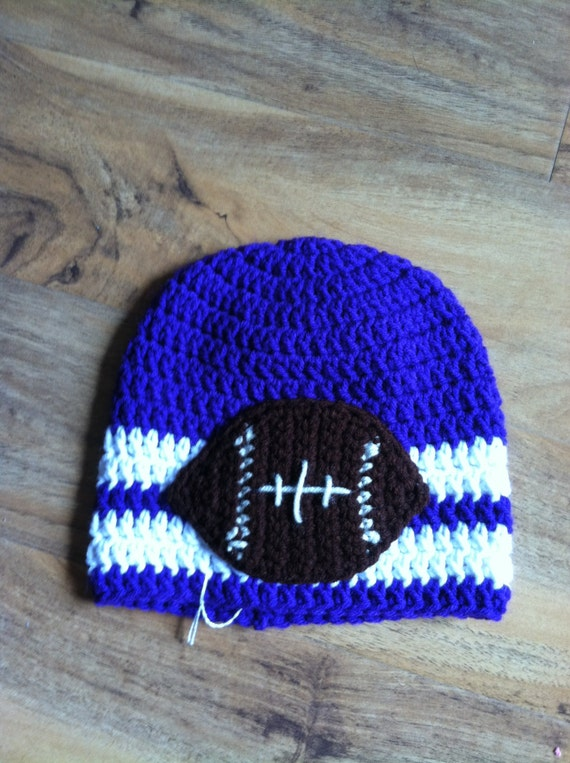 Ready to Ship Purple w White Stripe Child or Adult Football Beanie Cap Footballs Team Colors Sports Teams Hat Crochet Handmade