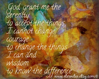Serenity Prayer Brown Gold Blues Digital Art Print 8x10 inch