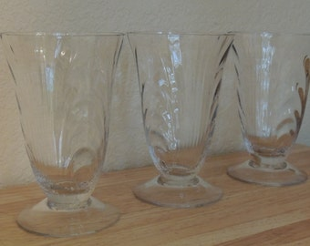 Three Cambridge Caprice 8 oz Footed tumblers