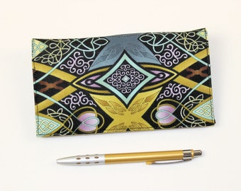 Duplicate Checkbook Cover with Pen Holder. Paula Nadelstern Geometric Kaleidoscope Cotton Fabric, Gold, Blue and Black Check Book