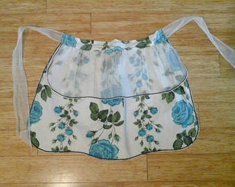 SALE*** Vintage Sheer Overlay Half Apron w Turquoise Roses