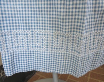 1920s Authentic Blue Gingham Cotton Long Apron Greek Key Cross Stitch