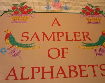 Vintage Book - Embroidery Sampler of Alphabets - Alphabet Samplers - craft book - Embroidery Book - classic needlework how to book