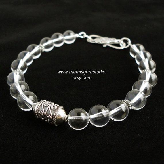 Mens Bracelet, Grade A Rock Crystal with Bali Artisan Sterling Silver, Healing Crystal Bracelet for Men, Guys