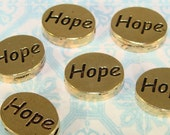 6 HOPE Beads Gold Plated Pewter Oval Inspirational Charms for Friendship Bracelets Bulk Jewelry Supplies USA Made Breast Cancer Awareness