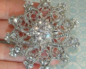Amazing Rhinestone Brooch with Pin Back measures Approx 3in Silver Crystal Style 2 Jewelry Supplies DIY Wedding Brooch Bouquet Bridal Sash