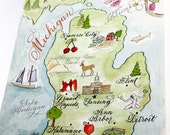 Hand-painted Watercolor Map of Michigan, 8 x 10 for framing by Robyn Love