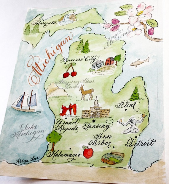 Items similar to Hand painted Watercolor Map of Michigan 8 x 10 for framing