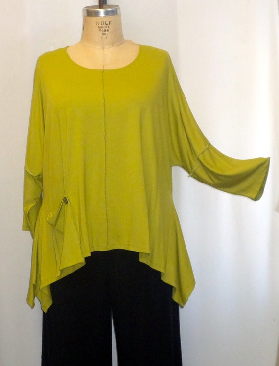Coco and Juan Lagenlook Plus Size Top Kiwi Knit Angled Tunic Top One Size Bust  to 60 inches
