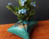 Clay Pillow Shaped Flower Vase ~ Dragonfly & Grass Design ~