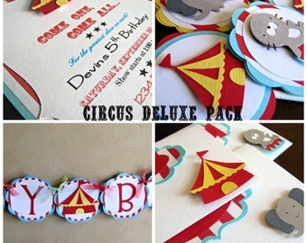 Circus Birthday Party DELUXE Package, Carnival Birthday Party Package, Circus Party Pack, Carnival Party Pack, Circus Party Invitation