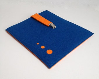 iPad case in Blue and Orange Felt, Felt ipad case, felt ipad sleeve,