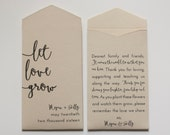 Tan Let Love Grow Custom Seed Packet Wedding Favors - Many Colors Available