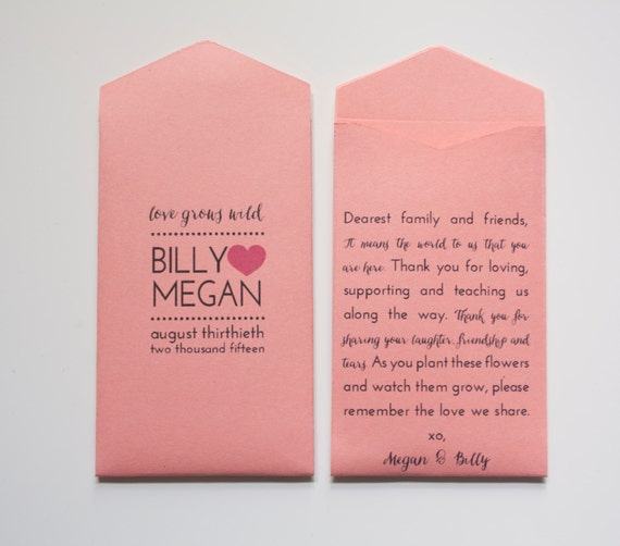 Coral Custom Wedding Favor Seed Packet Envelopes By Megmichelle