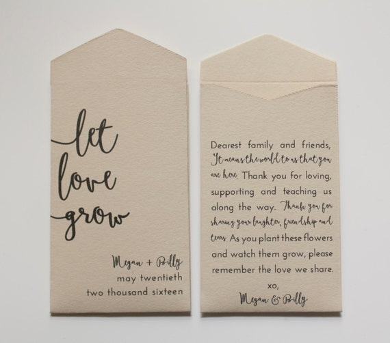 Flower Seed Wedding Favours: Tan Let Love Grow Custom Seed Packet Wedding Favors By