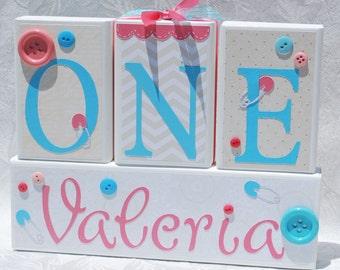 Birthday party blocks Centerpiece . 1st birthday . ONE year . Coral Aqua . Cute as a Button